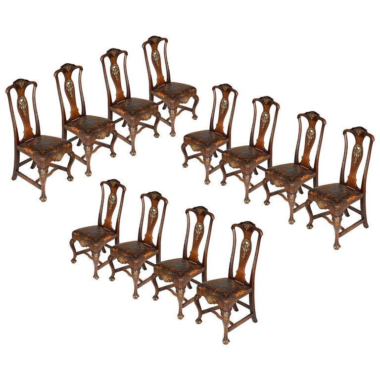 Set of Twelve Portuguese 18th Century Dining Chairs For Sale