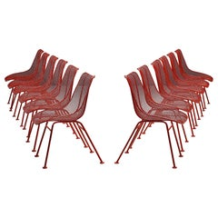 Set of Twelve Red Coated 'Sculptura' Patio Chairs by Russall Woodard