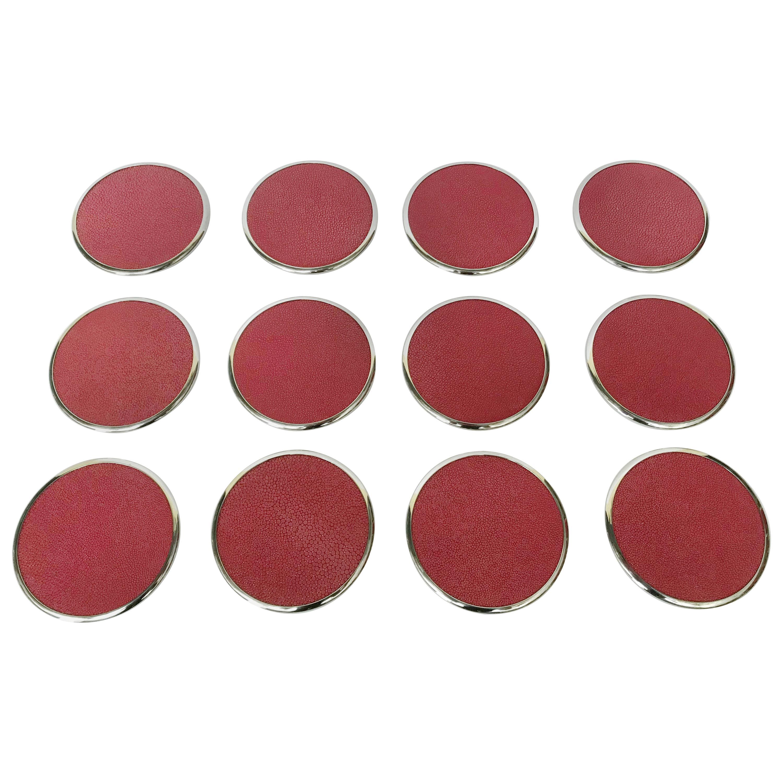Set of Twelve Red Shagreen Coasters by Fabio Ltd