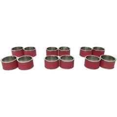 Set of Twelve Red Shagreen Napkin Rings by Fabio Ltd