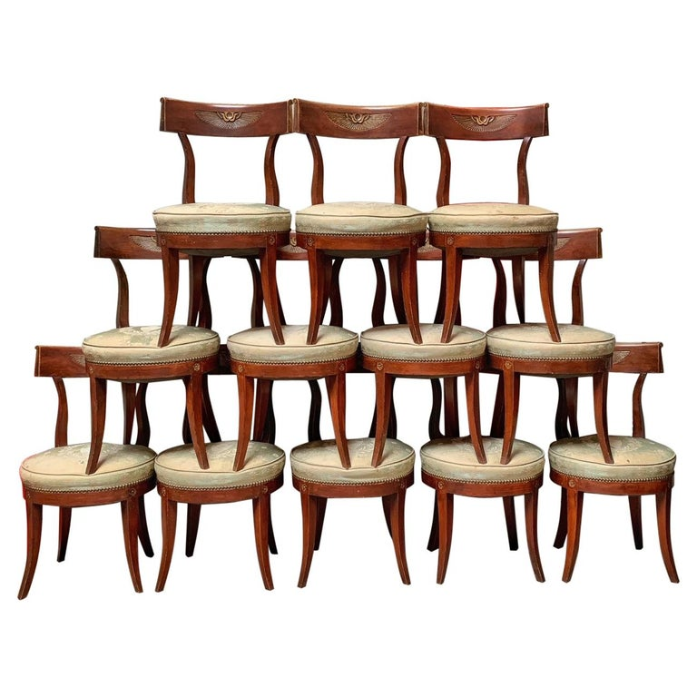Set of Twelve Regence style Dining Chairs For Sale