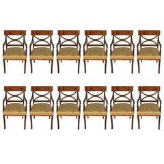 Set of Twelve Regency Style Upholstered Armchairs