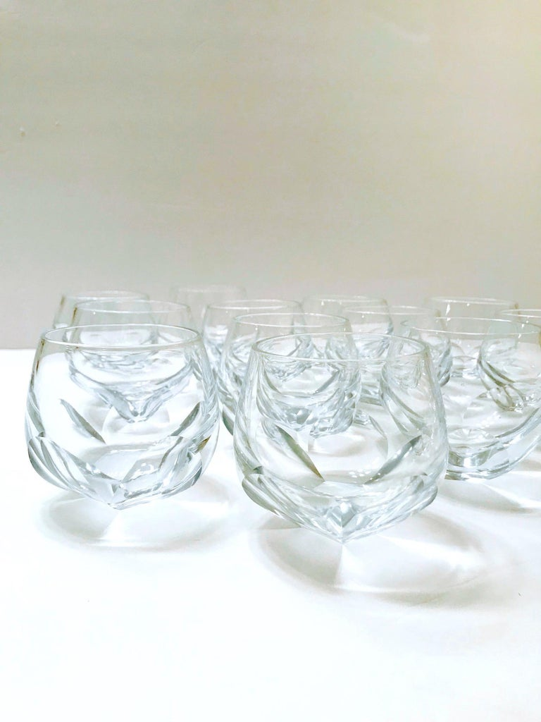 Set of Twelve Round Faceted Crystal Whiskey Glasses by Moser, 1980s 3