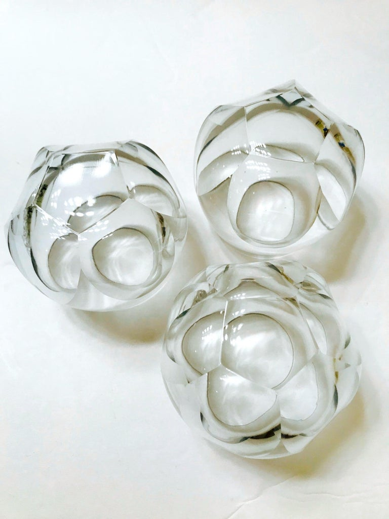 Set of Twelve Round Faceted Crystal Whiskey Glasses by Moser, 1980s 4