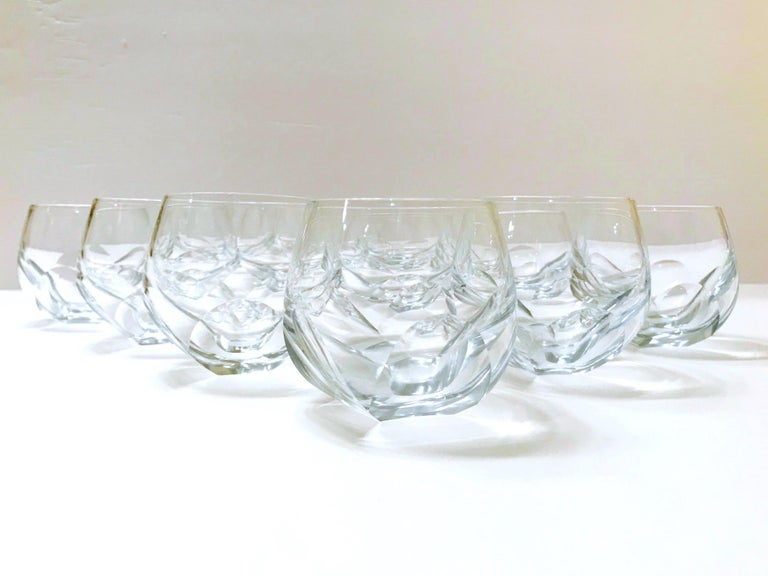 Set of Twelve Round Faceted Crystal Whiskey Glasses by Moser, 1980s 6