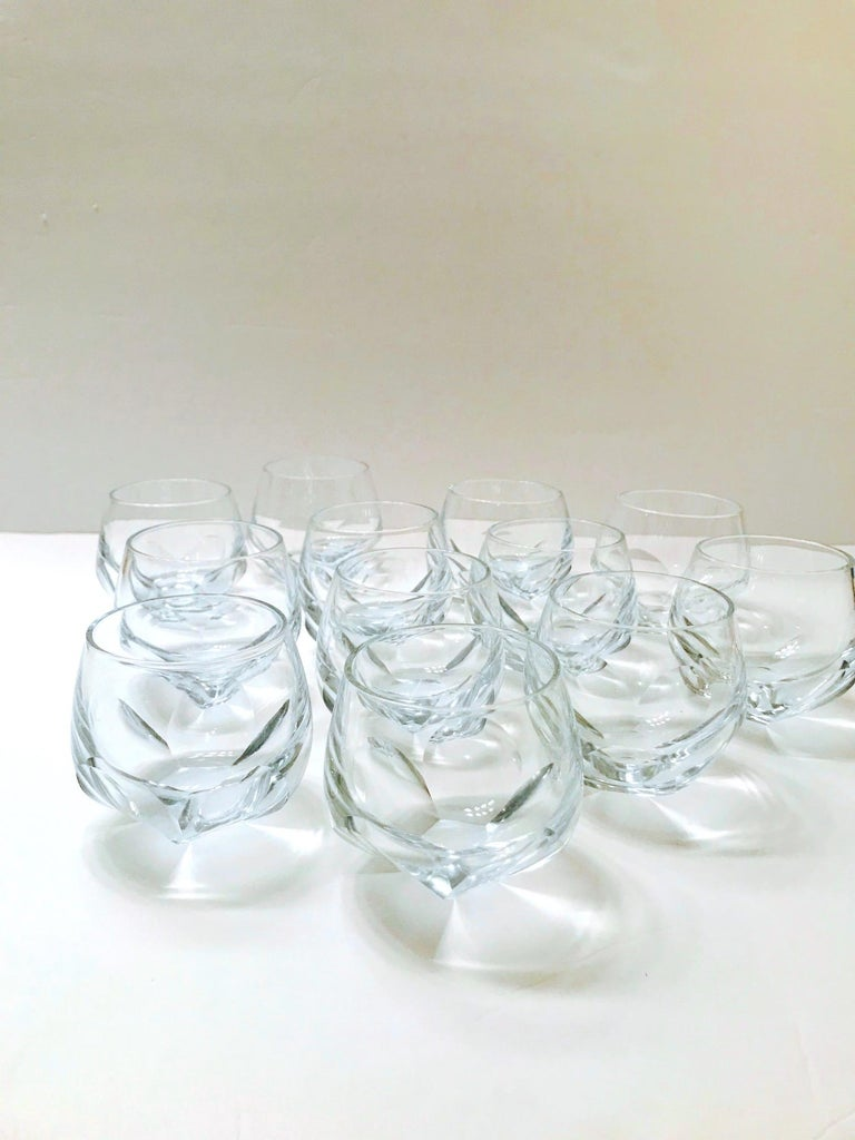 Set of Twelve Round Faceted Crystal Whiskey Glasses by Moser, 1980s 7
