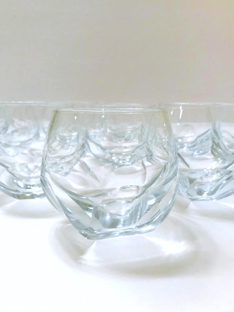 Mid-Century Modern Set of Twelve Round Faceted Crystal Whiskey Glasses by Moser, 1980s