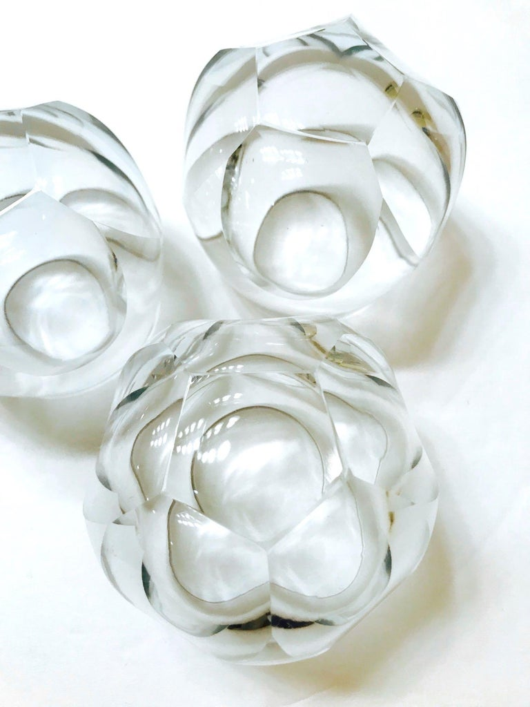 Czech Set of Twelve Round Faceted Crystal Whiskey Glasses by Moser, 1980s
