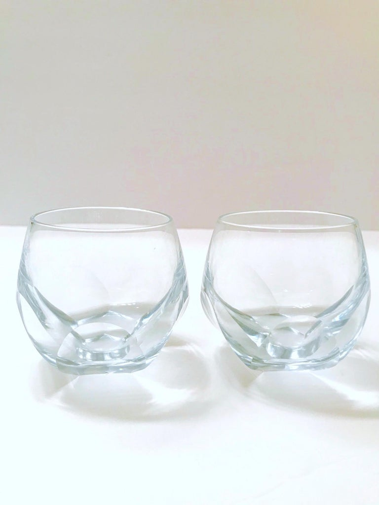 Set of Twelve Round Faceted Crystal Whiskey Glasses by Moser, 1980s In Good Condition In Miami, FL