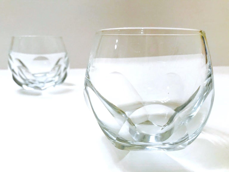 Late 20th Century Set of Twelve Round Faceted Crystal Whiskey Glasses by Moser, 1980s