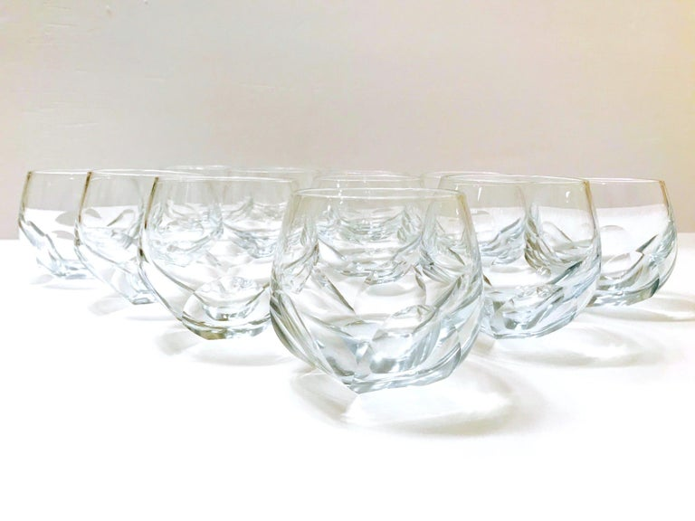 Set of Twelve Round Faceted Crystal Whiskey Glasses by Moser, 1980s 2