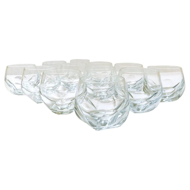 Set of Twelve Round Faceted Crystal Whiskey Glasses by Moser, 1980s