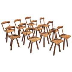 Set of Twelve Rustic Tripod Dining Chairs