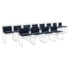 Set of Twelve Steel and Cotton Chairs by Kazuhide Takahama
