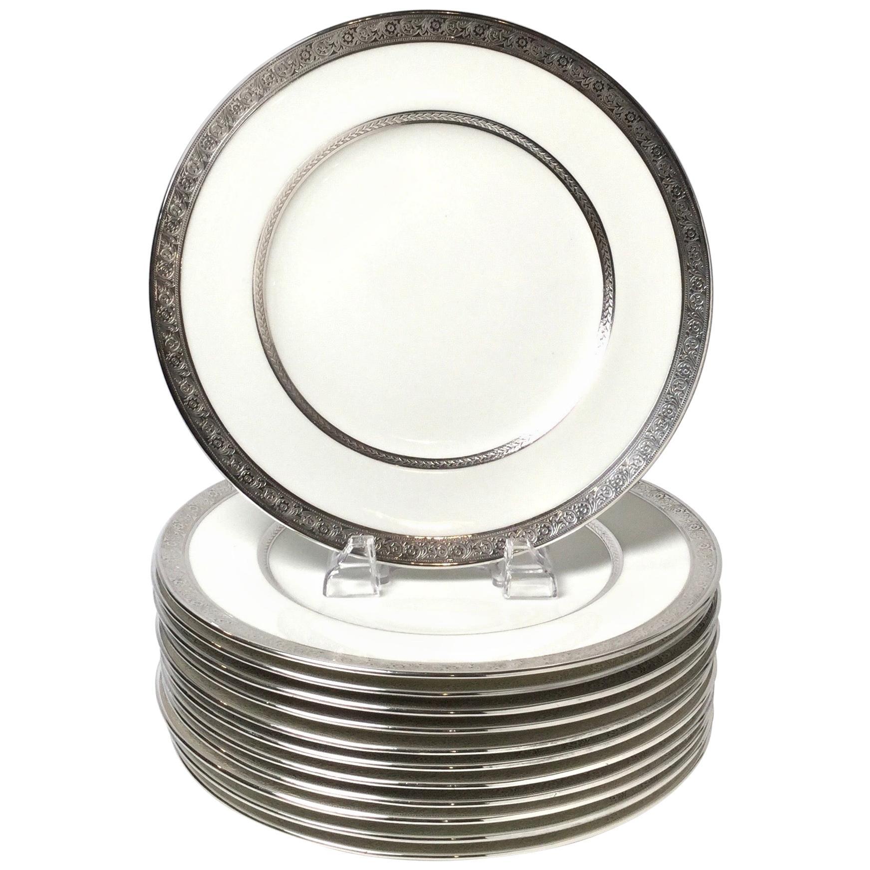 Set of Twelve Sterling Overlay Service Dinner Plates by Cauldon