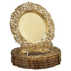 Set of Twelve Sterling Silver-Gilt Dessert Plates, circa 1900