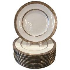 Set of Twelve Sterling Silver Overlay Dinner/Service Plates, England