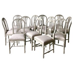 Set of Twelve Swedish Painted Wheatsheaf Dining Chairs