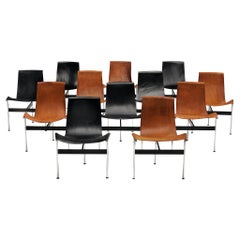 Set of Twelve T-Chairs in Black and Cognac Leather by Katavolos, Kelly, Little
