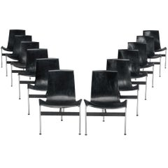 Set of Twelve T-Chairs in Black Leather by Katavolos, Kelly and Littell