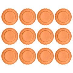 Set of Twelve Terracotta Dinner Plates