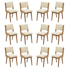 Set of Twelve Upholstered Oak Dining Side Chairs by Jens Risom, USA, 1960's