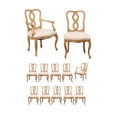 Set of Twelve Venetian Style Carved Wood Ribbon Back-Splat Dining Room Chairs