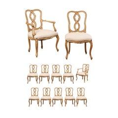 Satz aus Zwölf Geschnitzten Esszimmerstühlen im Venezianischen Stil