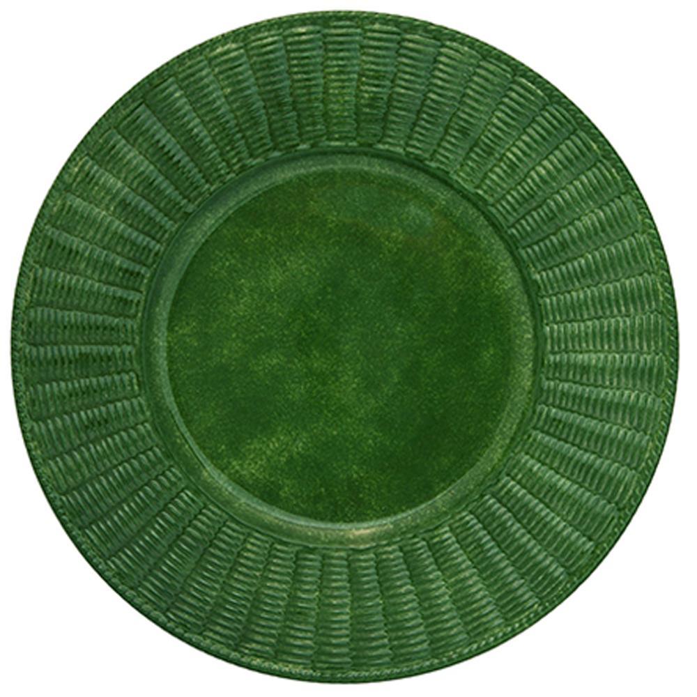 Set of Twelve Verde Wicker Ceramic Plates