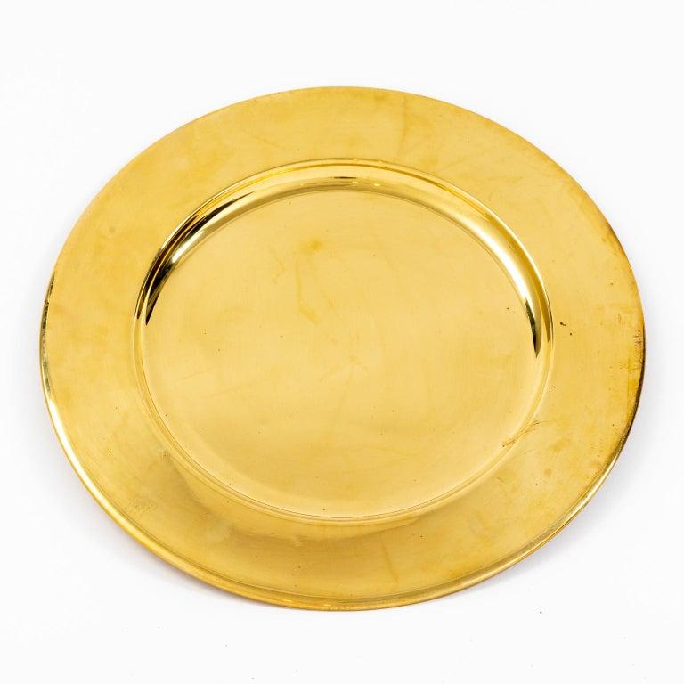 Mid-Century Modern Set of Twelve Vintage Brass Charger Plates For Sale