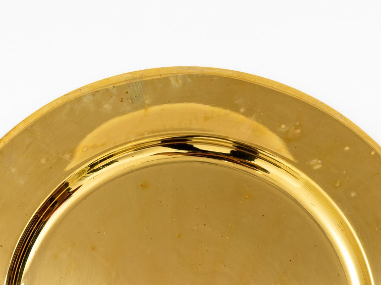 20th Century Set of Twelve Vintage Brass Charger Plates For Sale