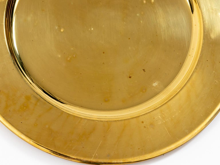 Set of Twelve Vintage Brass Charger Plates For Sale 1
