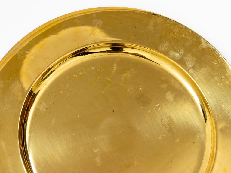 Set of Twelve Vintage Brass Charger Plates For Sale 2