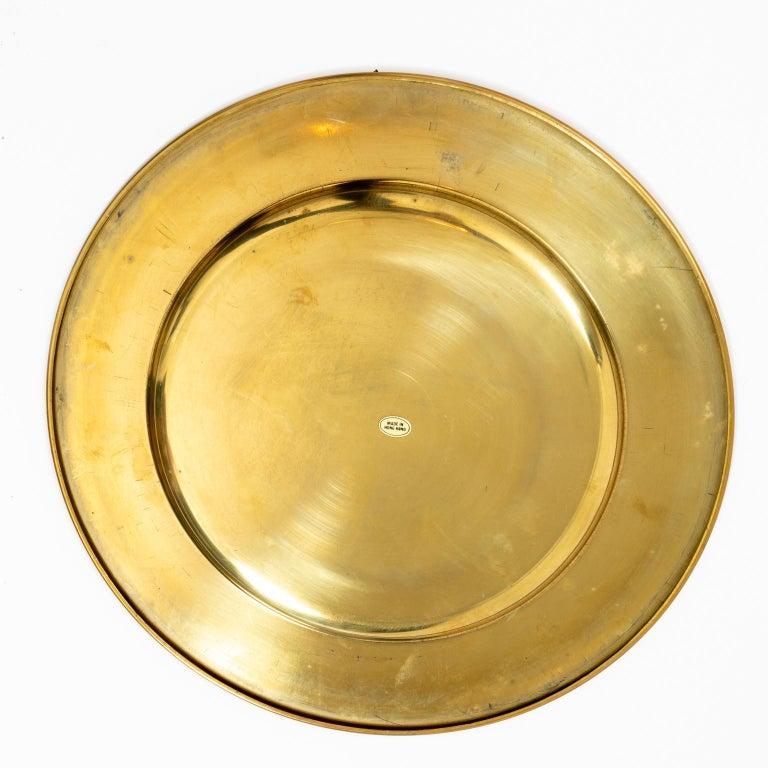 Set of Twelve Vintage Brass Charger Plates For Sale 3