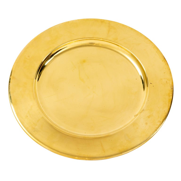 Set of Twelve Vintage Brass Charger Plates For Sale 4
