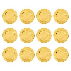 Set of Twelve Vintage Brass Charger Plates