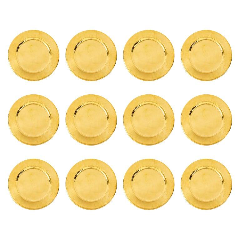 Set of Twelve Vintage Brass Charger Plates For Sale