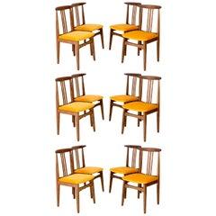 Set of Twelve Yellow Chairs, by Zielinski, Europe, 1960s