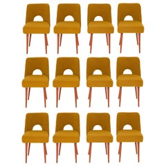 Set of Twelve Yellow Ochre Boucle 'Shell' Chairs, 1960s