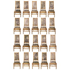 Set of Twenty 1970s Spanish Bamboo Upholstered High Back Chairs