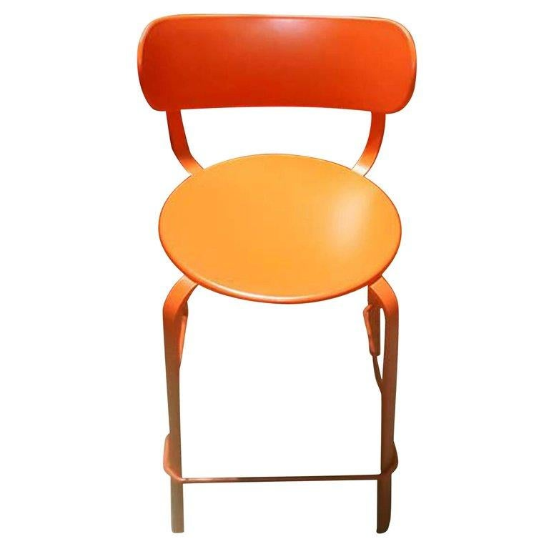Set of Sixteen LaPalma  Orange Stools In Excellent Condition For Sale In New York, NY