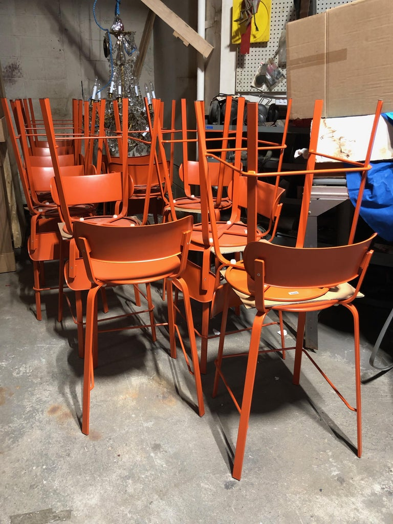 Contemporary Set of Sixteen LaPalma  Orange Stools For Sale