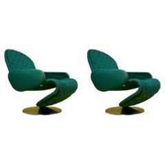 Set of Two 1-2-3 Deluxe Armrest Chairs by Verner Panton for Fritz Hansen, 1970s