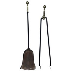 Set of Two 18th Century Brass and Iron Fireplace Tools