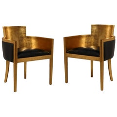 Set of Two 1920s Style Armchairs, Gold Leaf / Black Leatherette