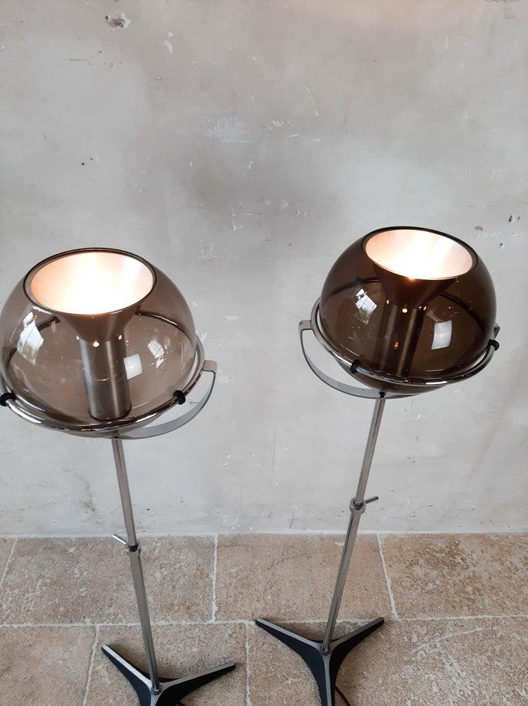 Set of Two 1960s Globe Floor Lamps by Frank Ligtelijn for RAAK Amsterdam For Sale 9