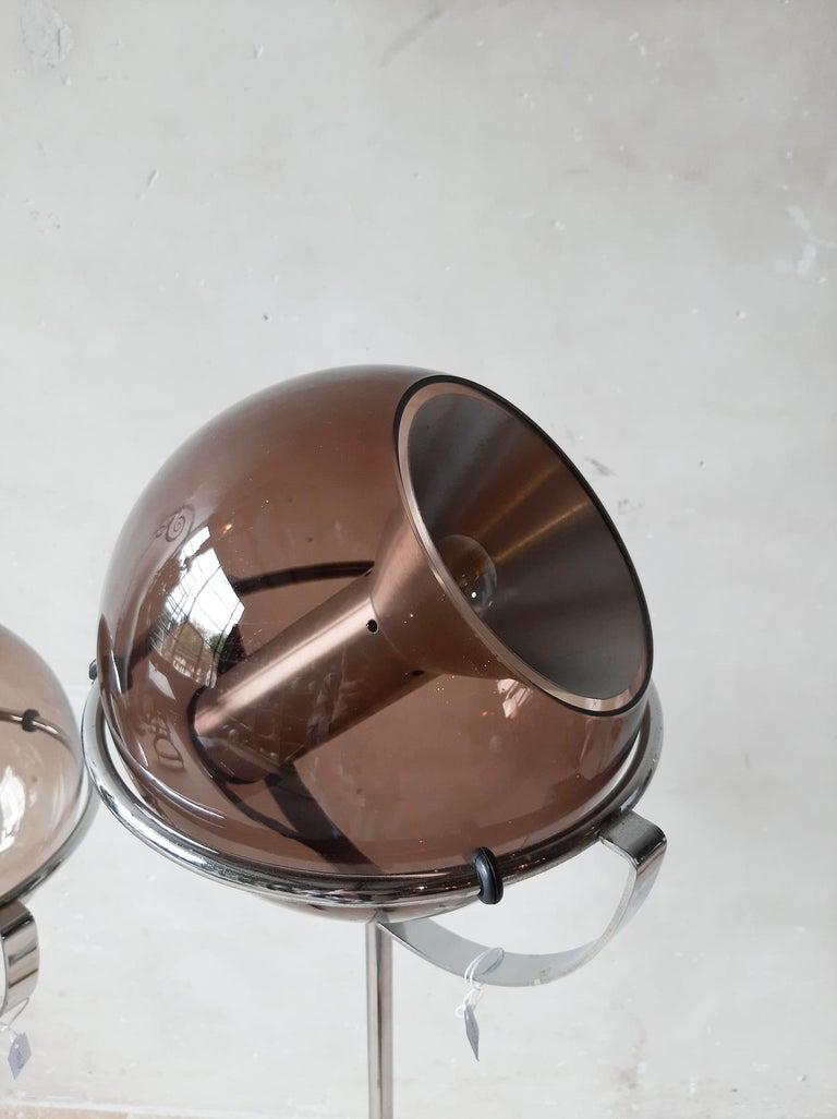 Mid-Century Modern Set of Two 1960s Globe Floor Lamps by Frank Ligtelijn for RAAK Amsterdam For Sale