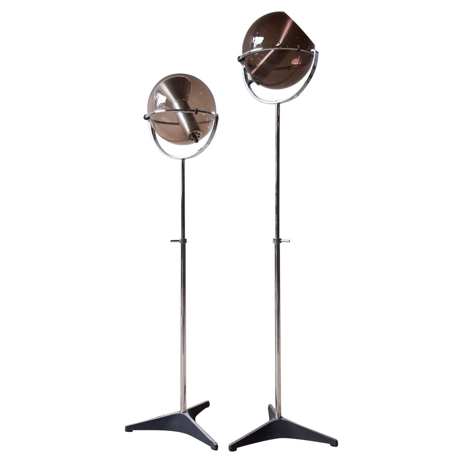 Set of Two 1960s Globe Floor Lamps by Frank Ligtelijn for RAAK Amsterdam