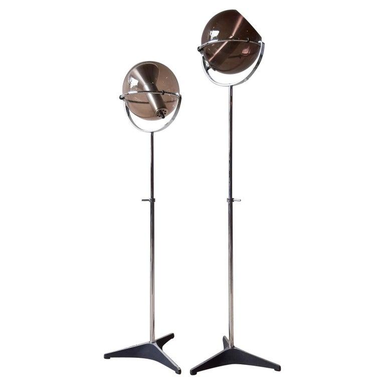 Set of Two 1960s Globe Floor Lamps by Frank Ligtelijn for RAAK Amsterdam For Sale