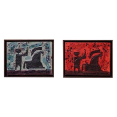 Set of Two 1960s 'Trojan' Impasto Oil on Canvas Paintings by Luzon